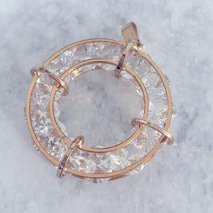 💕 ALDO cz look crystal round gold tone pendant